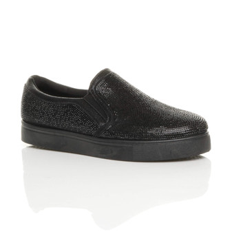 Front right side view of Black / Black Sole Flat Glitter Plimsolls Skate Shoes