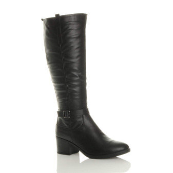 Front right side view of Black PU Mid Block Heel Calf High Riding Boots