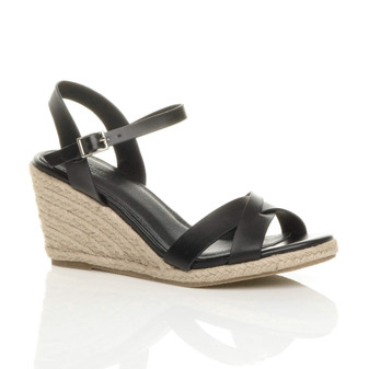 Front right side view of Black PU Mid High Heel Wedge Strappy Buckle Espadrille Sandals