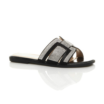Front right side view of Black PU Flat Diamante Flip Flops Sandals