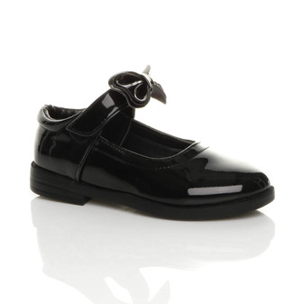 Front right side view of Black Patent Flat Smart Bow Mary Jane Shoes