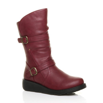 Front right side view of Burgundy PU Low Wedge Heel Biker Comfort Calf Boots