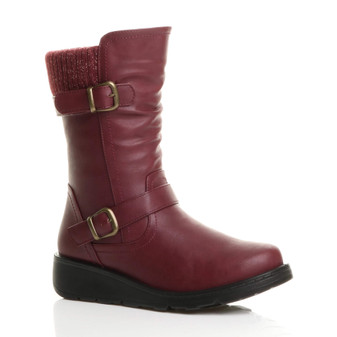 Front right side view of Burgundy PU Low Wedge Heel Biker Knitted Collar Comfort Calf Boots