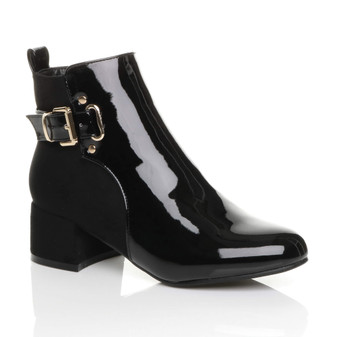 Front right side view of Black Patent Low Mid Block Heel Buckle Smart Chelsea Ankle Boots