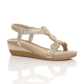 Front right side view of Gold PU Mid Wedge Heel Diamante Beaded T-Bar Slingback Sandals