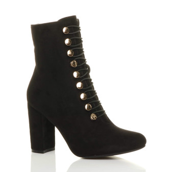 Front right side view of Black Suede High Block Heel Gold Button Military Ankle Boots