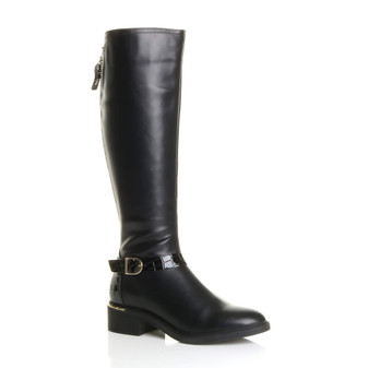 Front right side view of Black PU Low Block Heel Buckle Gold Zip Stretch Calf Riding Boots