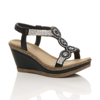 Front right side view of Black PU High Wedge Heel Diamante Beaded Platform Slingback Sandals