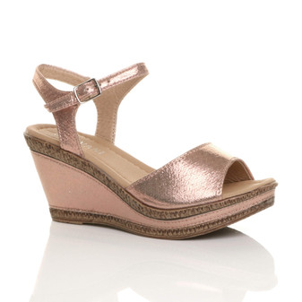 Front right side view of Rose Gold Shimmer PU High Wedge Heel Cork Platform Buckle Sandals