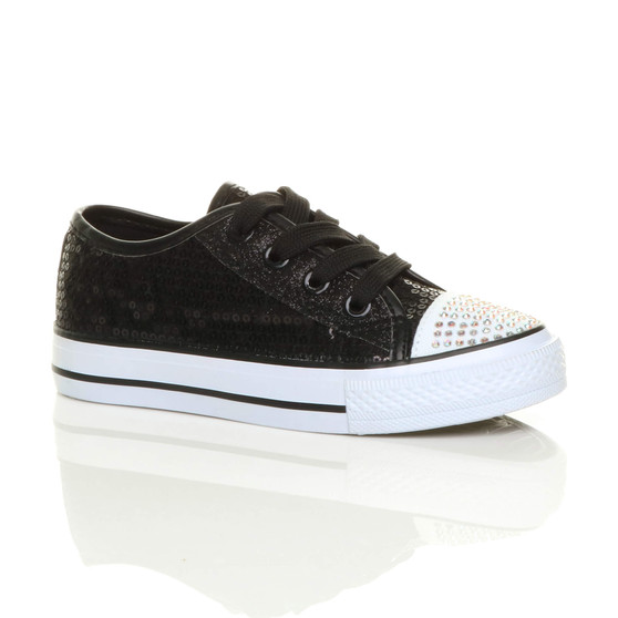 Front right side view of Black Glitter Flat Glitter Plimsolls Trainers Sneakers