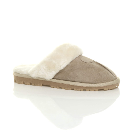 Front right side view of Beige Suede Fur Lined Winter Luxury Mules Slippers