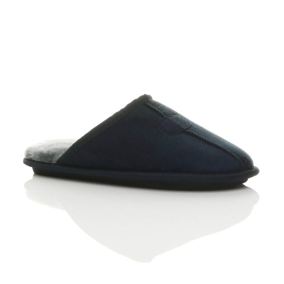 Front right side view of Navy Winter Fur Lined Memory Foam Mules Slippers House Shoes
