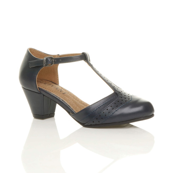 Front right side view of Navy PU Mid Heel T-Bar Brogue Shoes Sandals
