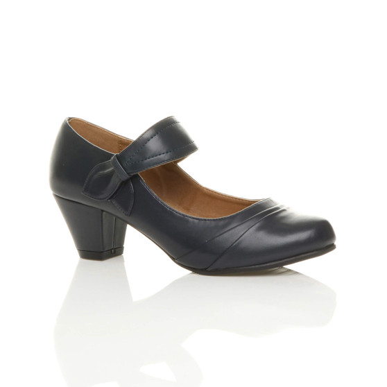 Front right side view of Navy PU Mid Heel Comfort Toucht Close Mary Jane Court Shoes