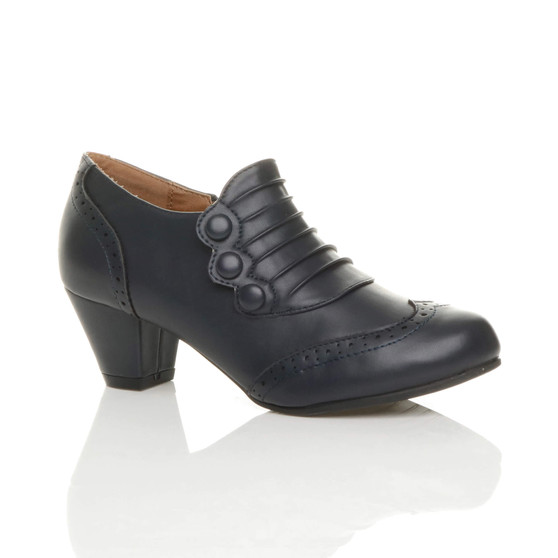 Front right side view of Navy PU Mid Heel Buttons Brogue Ankle Boots Booties