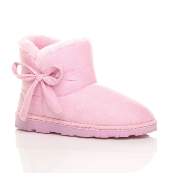 Front right side view of Pink Suede Flat Bow Fur Lined Ankle Boots Slippers Booties