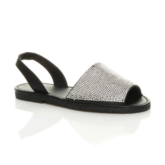 Front right side view of Black PU Flat Diamante Slingback Menorcan Sandals