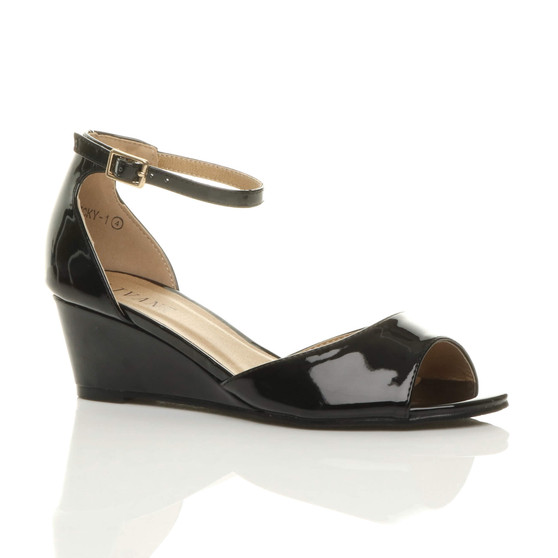 Front right side view of Black Patent Low Mid Wedge Heel Ankle Strap Sandals