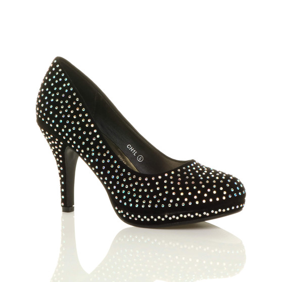 Front right side view of Black Diamante Glitter High Heel Platform Court Shoes