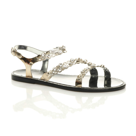 Front right side view of Black Flat Diamante Strappy Buckle Summer Jelly Beach Sandals