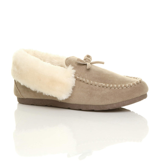 Front right side view of Beige Suede Fur Collar Lined Luxury Flexible Moccasins Slippers