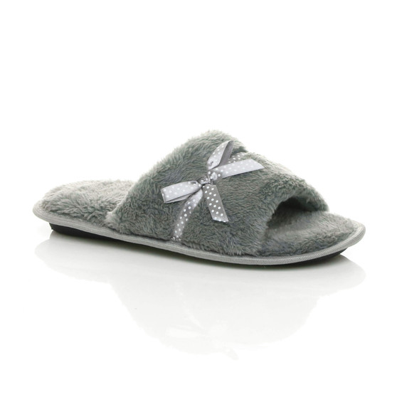 Front right side view of Grey Fur Memory Foam Fluffy Bow Fur Lined Grip Sole Peep Toe Mule Slippers Sandals