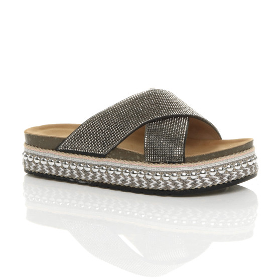 Front right side view of Black Flatform Diamante Crossed Straps Platform Mules Sliders Sandals