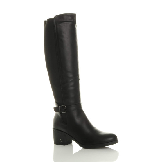 Front right side view of Black PU Mid Block Heel Calf  Knee High Riding Boots