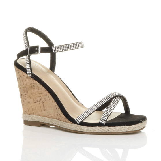Front right side view of Black Suede High Wedge Cork Effect Heel Diamante Strappy Sandals