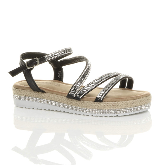 Front right side view of Black PU Flatform Diamante Trim Crossed Straps Platform Espadrille Sandals