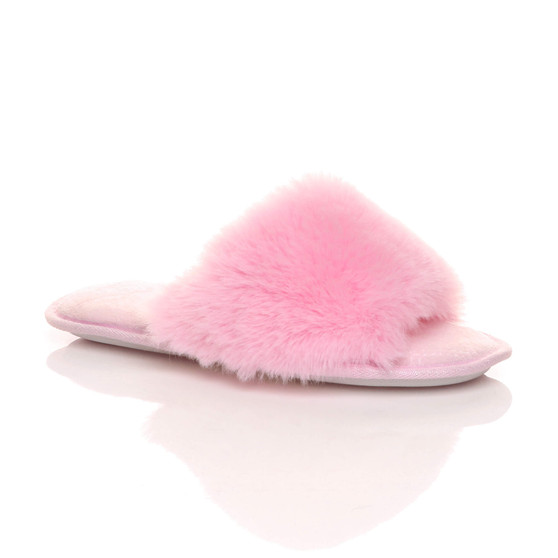 Front right side view of Pink Fur Fluffy Washable Peep Toe Slippers Slides