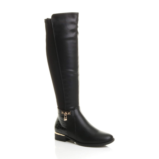 Front right side view of Black PU Flat Low Heel Knee High Stretch Elastic Croc Riding Boots