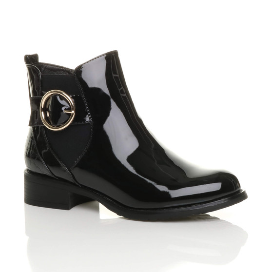 Front right side view of Black Patent Low Heel Zip Gold Buckle Smart Casual Chelsea Ankle Boots