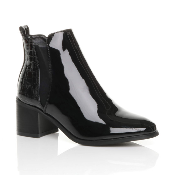 Front right side view of Black Patent Mid High Block Heel Smart Zip Croc Chelsea Ankle Boots