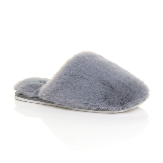 Front right side view of Grey Fur Flat Winter Fluffy Fur Lined Slip On Slippers Mules