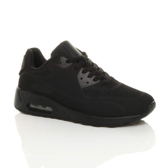 Front right side view of Black / Black Cushioned Comfort Sport Fitness Mesh Trainers Sneakers
