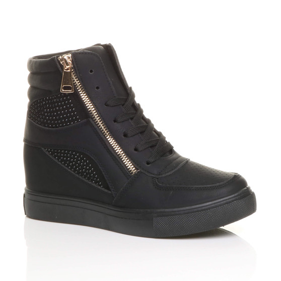 Front right side view of Black / Black Sole PU Mid Heel Wedge Diamante Lace Up Hi-Top Trainers Ankle Boots