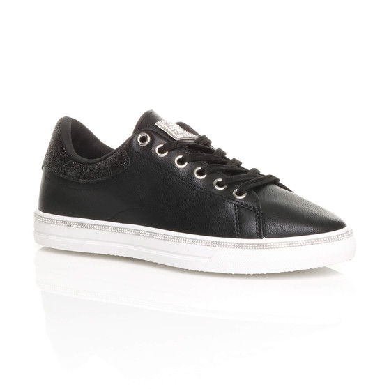 Front right side view of Black PU Flat Lace Up Diamante Low Top Trainers