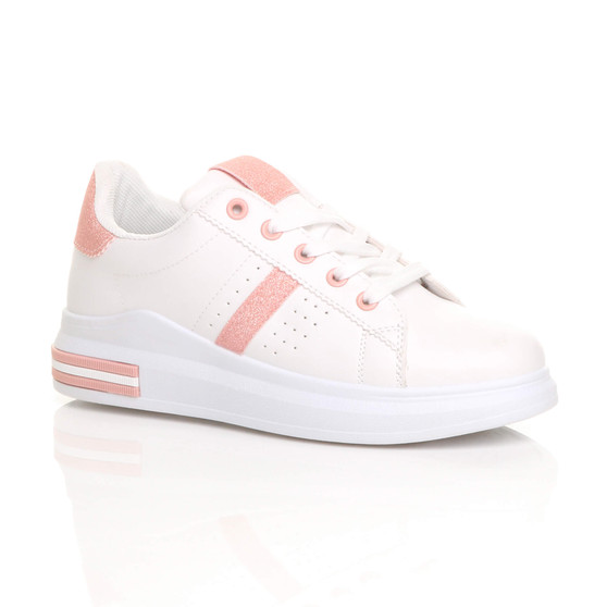 Front right side view of White PU Chunky Sole Glitter Lace Up Low Top Trainers