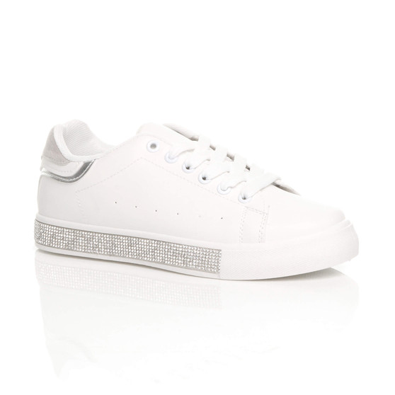 Front right side view of White PU Chunky Sole Glitter Lace Up Low Top Trainers Skate Shoes