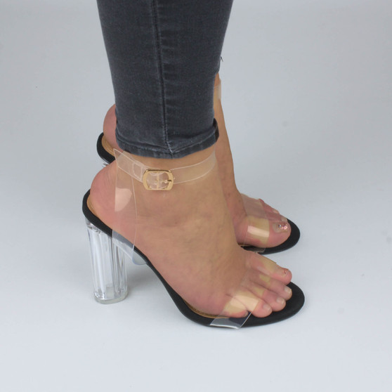 Model wearing Black Suede High Block Heel Barely There Strappy Clear Perspex Sandals