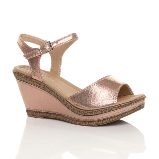 Front right side view of Rose Gold Shimmer PU High Wedge Heel Cork Platform Buckle Sandals