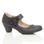 Front right side view of Pale Navy PU Flower Mary Jane Padded Comfort Court Shoes