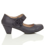 Right side view of Pale Navy PU Flower Mary Jane Padded Comfort Court Shoes