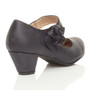 Back right side view of Pale Navy PU Flower Mary Jane Padded Comfort Court Shoes