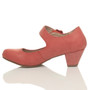 Left side view of Pale Red PU Flower Mary Jane Padded Comfort Court Shoes