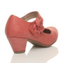 Back right side view of Pale Red PU Flower Mary Jane Padded Comfort Court Shoes