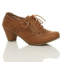 Front right side view of Tan PU Mid Heel Cut Out Brogue Shoe Boots