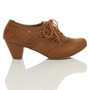 Right side view of Tan PU Mid Heel Cut Out Brogue Shoe Boots