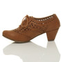 Back right side view of Tan PU Mid Heel Cut Out Brogue Shoe Boots